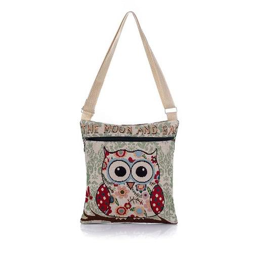 Frauen Schultertasche gestickt Jacquard Owl Charakter Karikatur beiläufige Weinlese-kleine Messenger Bag Umhängetasche Handtaschen