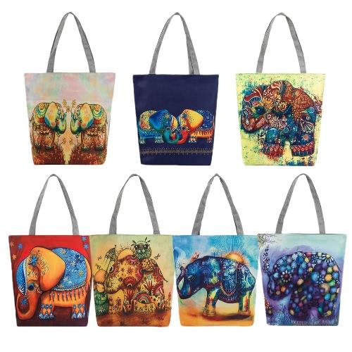 Women Canvas Handbag Animal Print Shoulder Bag Large Capacity Casual Shopping Bag Tote, TOMTOP  - buy with discount