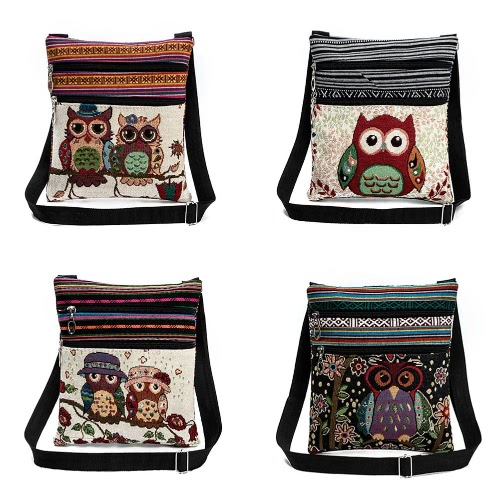Women Mini Crossbody Bag Owl Embroidery Jacquard Zipper Adjustable Strap Light Messenger Travel Outdoor Shoulder Bag, TOMTOP  - buy with discount