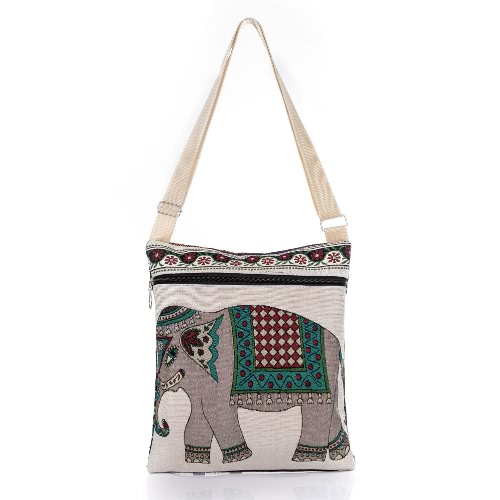 Mulheres Retro Canvas Crossbody Bag Elephant bordado impressão Zipper Compras Viagens Bolsa de Ombro