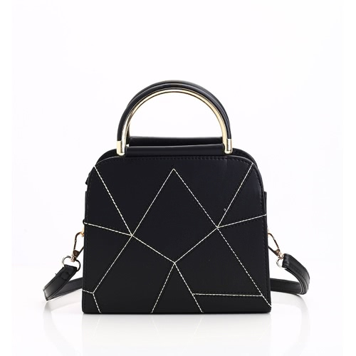 Women Accessary Fashion Simple Design Geometrical Line Handbag