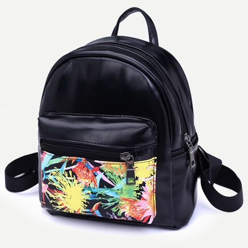Women PU Leather Backpack Doodle Print Zipper Adjustable Strap Casual School Travel Bag Black
