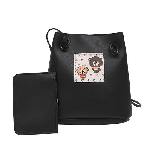 Mujeres Chicas Crossbody Bolsos Soft PU Cuero Cute Imprimir Casual Pequeño Messenger Shoulder Bag Set de dos piezas