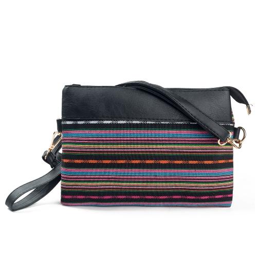 Nouveau Vintage femmes toile embrayage sac épissure PU rayé impression poignet sangle Street Shoulder Handbag