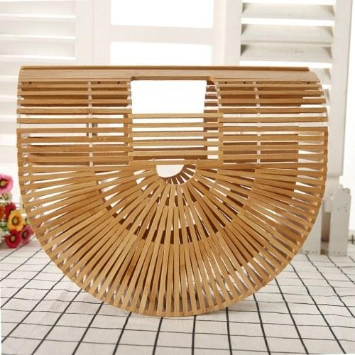 Fine Quality Handmade Beach Portable Half Moon Bamboo Weaving Bag Hand-held Strip Manual Handbag