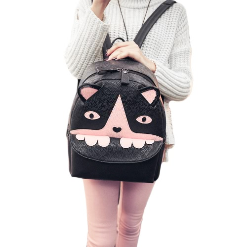 Fashion Women Backpack Animal Pattern PU Leather Zipper Closure School Travel Shoulder Bags Black1/Black2
