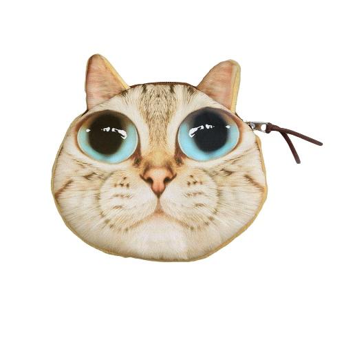 Linda moda mujeres Mini moneda monedero monedero gato cabeza de Animal de impresión pequeño embrague bolso de cremallera cierre