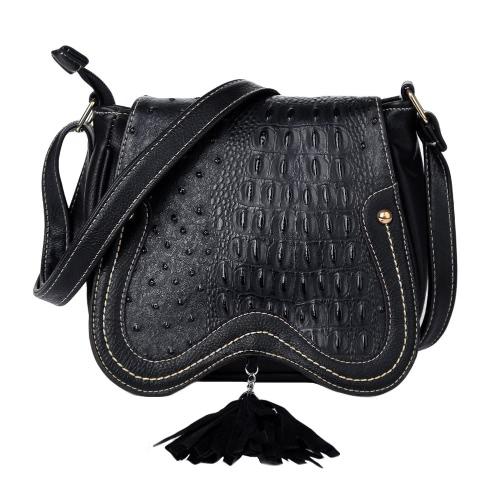 Las nuevas mujeres de la PU del bolso de Crossbody de la borla de ahueca hacia fuera de la cubierta de la cremallera Casual Vintage Bolsas de hombro pequeño Negro
