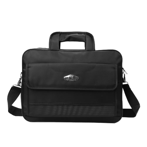 New Oxford bolsa de ordenador portátil impermeable unisex de doble cremalleras Velcro bolsillo Grab Handle hombro del negocio del bolso Black1 / Black2