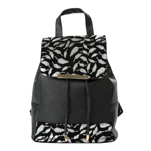 Nowe mody Kobiety Mini Bag Feather Wzór Splice Mała Torba Traveling Plecak Black1 / Black2