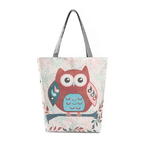 La bolsa de lona de las mujeres del bolso del búho de la nueva vendimia de impresión de gran capacidad ocasional de compras del totalizador del hombro