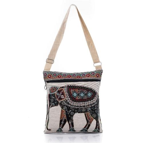 Bolso de las mujeres retro de la lona del bolso de Crossbody del elefante bordado de impresión de la cremallera Compras Viajes hombro