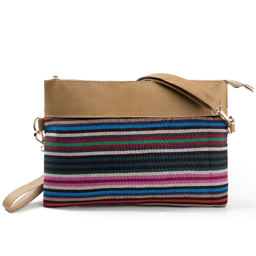 Nuevo bolso de embrague de la lona de las mujeres del vintage PU empalme bolso rayado de la impresión de la correa de la muñeca del hombro de la calle
