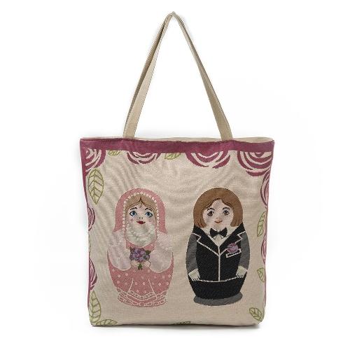 Nuevas mujeres de la lona de compras bolsos de hombro del bolso del patrón de la muñeca de gran capacidad bolsos de playa del totalizador ocasional