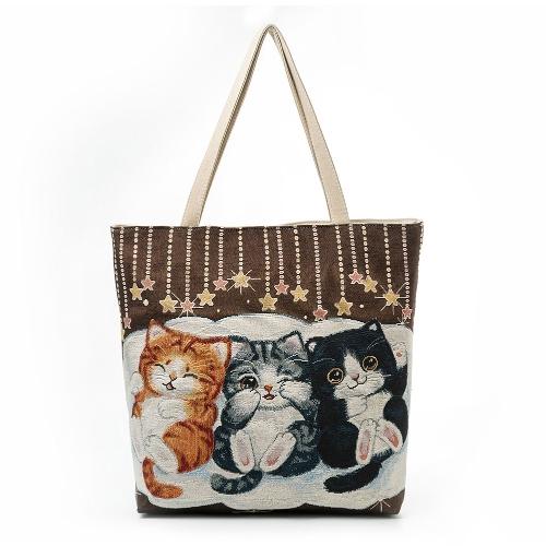 Femmes filles toile sac à bandoulière sac à main mignon chat broderie grande capacité sac à provisions occasionnel Totes