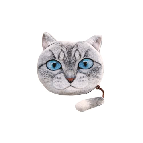 Moda mujer Linda moneda monedero gato cabeza imprime cola Mini monedero cremallera cierre pequeño embrague bolsa