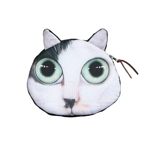 Cute Fashion femmes pièce Mini sac à main portefeuille chat animaux tête d'impression Zipper fermeture petite pochette