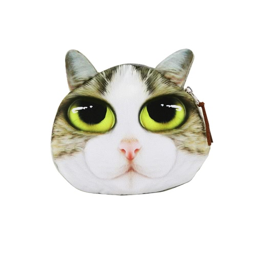 Linda moda mujeres moneda monedero gato Animal cabeza imprime cremallera cierre monedero Mini pequeño bolso de embrague