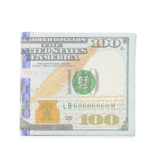Moda Hombres Mujeres Monedero corto PU Dólar Libra Euro impresión doblada ID titular de la tarjeta de crédito del caso Efectivo