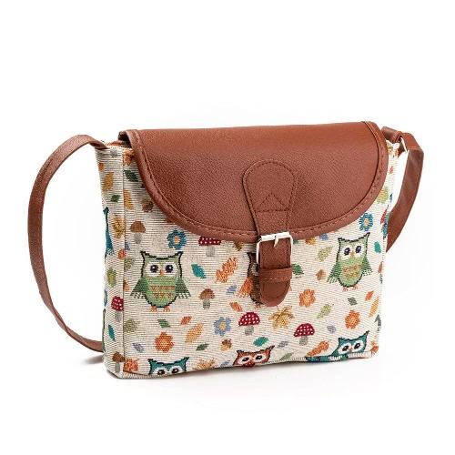 La bolsa de mensajero del hombro del bolso de Crossbody de las mujeres bolsa de mano Jacquard bordado búho de la aleta linda del personaje