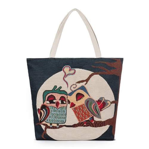 Women Canvas Handbag Animal Floral Embroidery Jacquard Shoulder Bag Large Capacity Casual Shopping Bag Tote, TOMTOP  - buy with discount