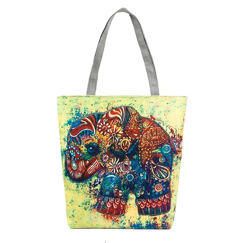 Las nuevas mujeres bolso de la lona del estampado de animales del bolso de hombro de la capacidad grande bolso ocasional de asas de las compras