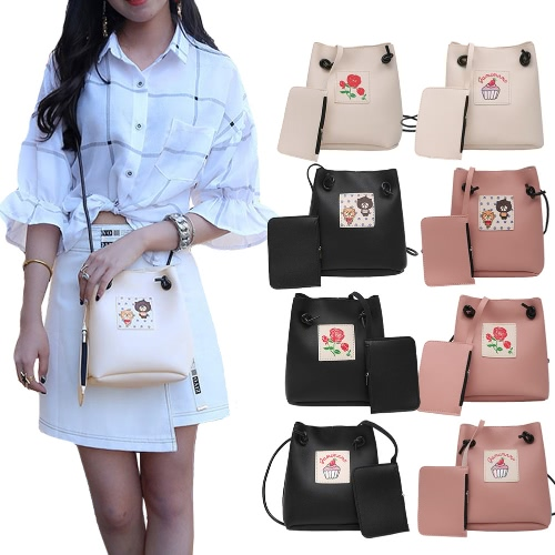 Women Girls Crossbody Bags Soft PU Leather Cute Print Casual Small Shoulder Messenger Bag Two Piece Set