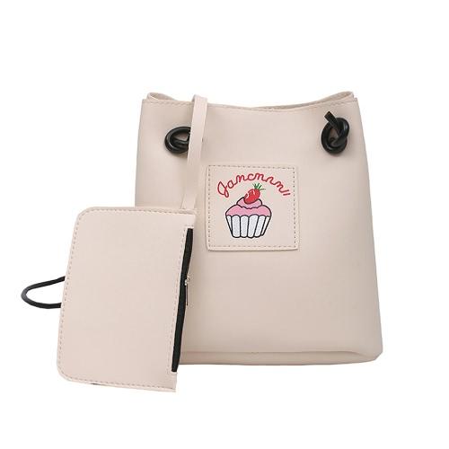 Frauen Mädchen Crossbody Taschen Soft PU Leder Niedlich Print Casual Kleine Schulter Messenger Bag Zwei Stück Set