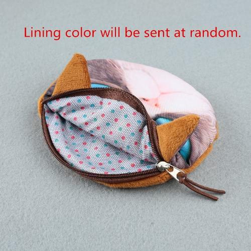 Niedliche Mode Frauen Coin Purse 3D Katze Tierkopf drucken Tail Mini-Geldbörse Reißverschluss Schließung kleine Clutch Bag