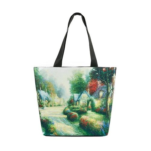 La bolsa de la nueva vendimia del bolso de la mujer del paisaje de impresión de gran capacidad ocasional del hombro del totalizador