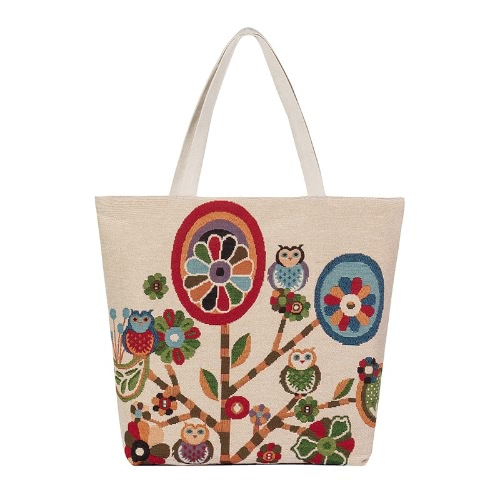 New Women Canvas Handbag Animal Floral Embroidery Jacquard Shoulder Bag Large Capacity Casual Shopping Bag Tote