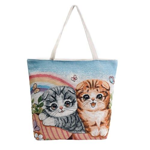 Bolso de hombro de la lona de las muchachas de las muchachas Bolso de compras lindo de la capacidad grande del bordado del gato de las mujeres