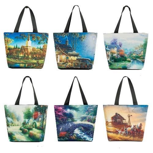 Vintage Women Handbag Landscape Print Large Capacity Casual Shoulder Bag Tote, TOMTOP  - buy with discount
