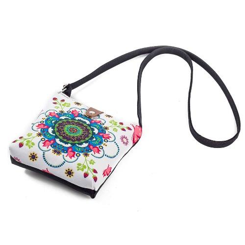 New Vintage Women Floral Impresso Canvas Crossbody Messenger Bag Saco de compras étnico Casual Shoulder Flap Bag