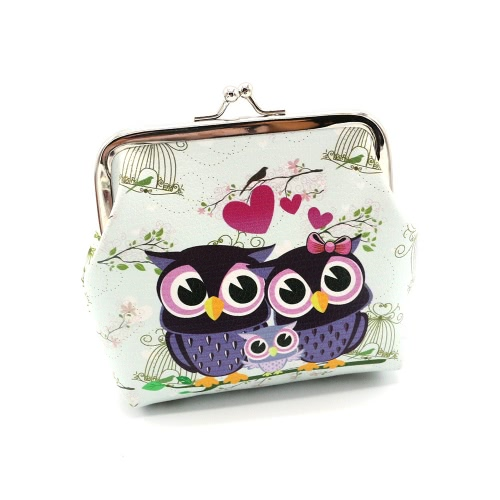 Nova Moda Vintage Mulheres Lady Cute Owl Pattern Small Wallet Hasp Purse Clutch Bag