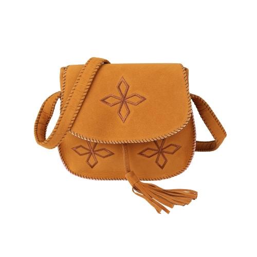 Kobiety Vintage Boho Shoulder Bag Embroidery Przybytek Stitch Edge Flap Przód Pasek Pasek Retro Casual Crossbody Bag Camel