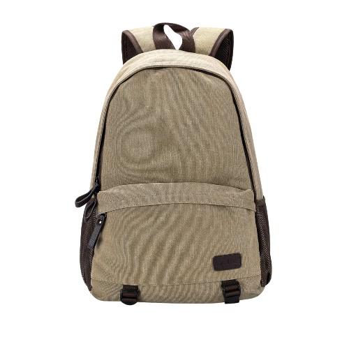 Homens de Moda de Nova Mochila Canvas Zipper Casual Bolsa Escola Mochila Laptop Travel Bag Khaki / Cinza