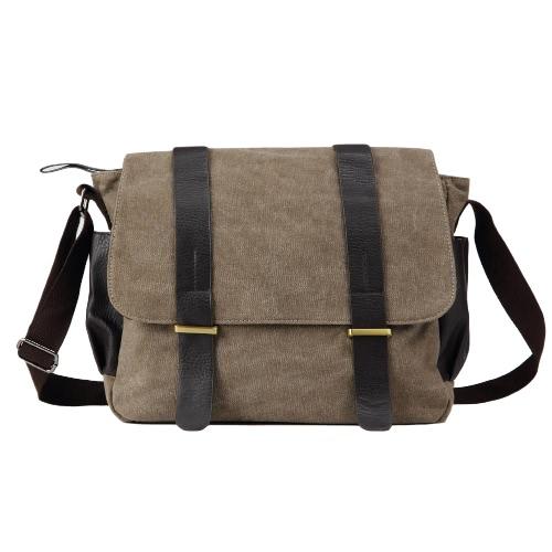 Homens de Moda de Nova Canvas Crossbody Saco grande capacidade multi-bolsos Capa Zipper Casual Shoulder Bags Vintage cinzento / Khaki