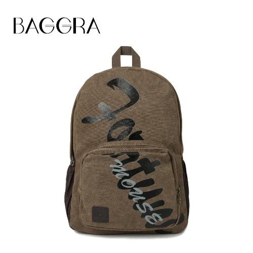 Homens Moda Mochila Canvas Carta Imprimir Multi-bolso com zíper Exército Militar Laptop Bag Casual Schoolbag Travel Bag azul / Khaki