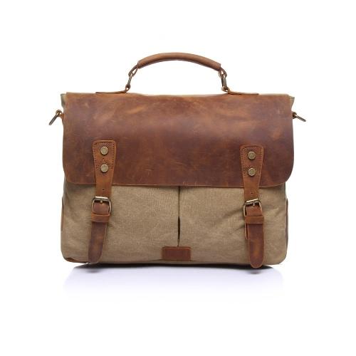 Men Retro Canvas Crossbody Bag Leather Cover Buckle Zipper Adjustable Strap Casual Messenger Bag School Travel Bag