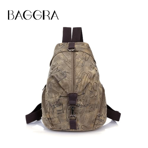 New Moda feminina Printed Canvas Backpack Couro Metal Zipper Casual Schoolbag Travel Bag azul / Khaki / Cinza