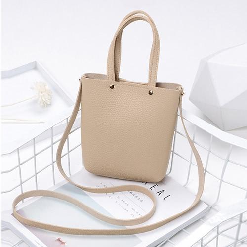 Moda Mujer Mini Bolso PU De Cuero De Color Sólido Pequeño Crossbody Shoulder Bucket Bag