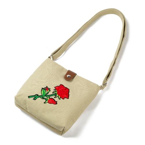Bolso bordado de la lona de la flor de las mujeres del vintage Bolso bordado de la rosa bolso de hombro ocasional étnico