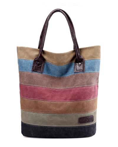 Vintage Frauen Männer Leinwand Handtasche Farbblock Gestreiften Umhängetasche Große Kapazität Unisex Casual Tote Khaki
