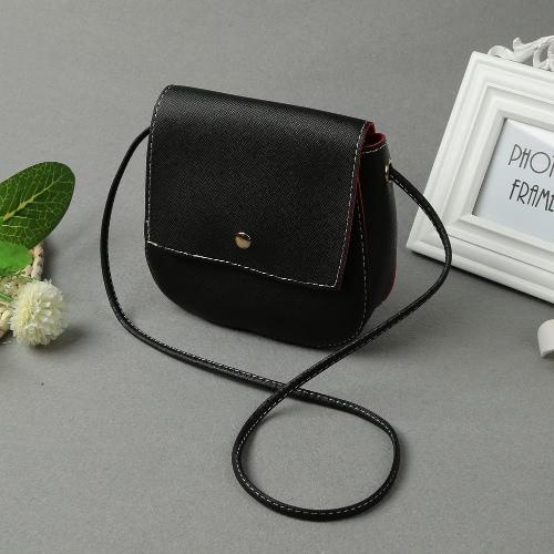 New Moda feminina PU Crossbody Saco Sólidos snap Capa Casual Vintage pequeno ombro Messenger Bags vermelho / rosa / preto