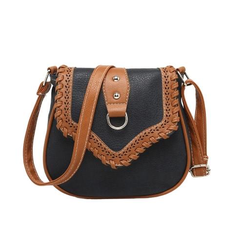 Mujeres retro Crossbody bolsas PU cuero tejido empalme hombro Messenger bolso pequeño bolso Satchel bolso