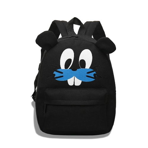 New Fashion Women Backpack Cute Character Print Zipper Pocket Canvas Bag Students Backpack