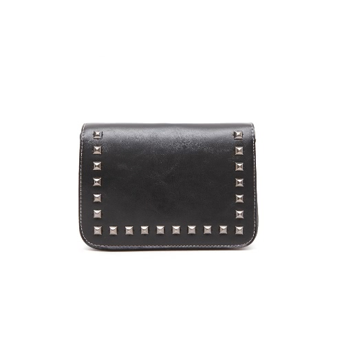 New Fashion Women Shoulder Bag Flap Top Rivet Decoration Adjustable Strap Solid Vintage Crossbody Bag