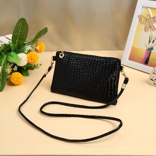Neue Frauen kleine Umhängetasche PU Leder Krokodil Patten Zipper Crossbody Tasche Handtasche schwarz/dunkel blau/Rose/violett