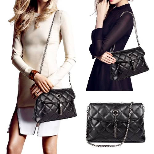 New Women Tassel Shoulder Bag Pu Leather Quilted Plaid Chain Thread Crossbody Messenger Bag Handbag Black